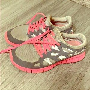 Grey and Pink Nike FREE Run 2